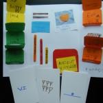 Inside Rafa's lapbook, matchbooks, flash cards