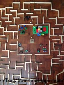 The Maze and The Glade top view (Keva Planks and Lego)